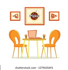 Pizza house vector, pizzeria with table and coffee cups. Futniture design with Italian food in box and hot beverage, pictures with spices and recipes with cheese