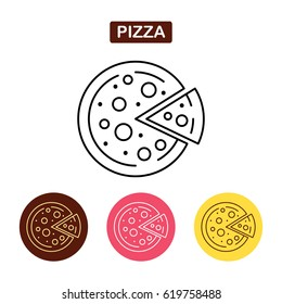 Pizza icon fast food logo. Traditional Italian food sign. Bakery products image. Outline vector illustration. Trendy vector Illustration isolated for graphic web design, for confectionery shop or cafe