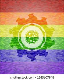 pizza icon inside lgbt colors emblem