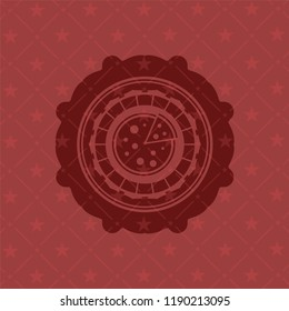 pizza icon inside red emblem