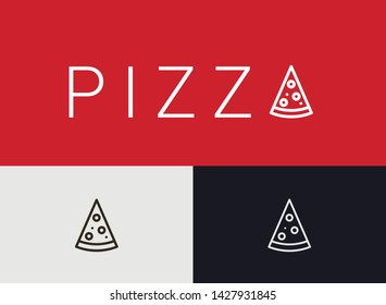 Pizza Icon, simple monoline concept