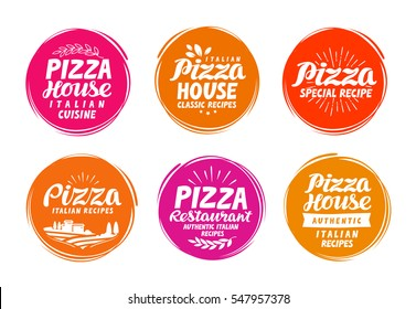 Pizza icons set. Collection labels for menu design restaurant or cafe. Vector illustration