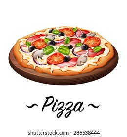 Pizza icons vector illustration on white background.