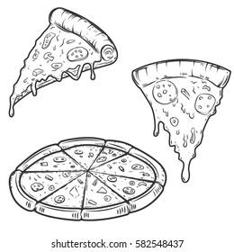 Pizza illustrations isolated on white background. Design elements for logo, label, emblem, sign, menu. Vector illustration.