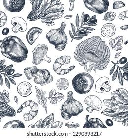 Pizza ingredients background. Linear graphic. Artichoke, tomato, garlicm basil, olive, pepper, mushroom, shrimp, leaf. Engraved seamless pattern. Vector illustration