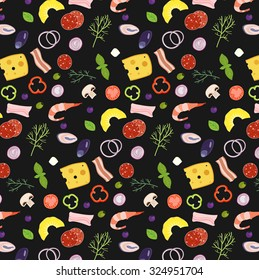 Pizza ingredients illustrations icons pizzeria wallpaper pattern with colorful elements and black background