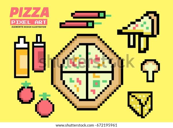 Image Vectorielle De Stock De Pizza Ingredients Set Pixel