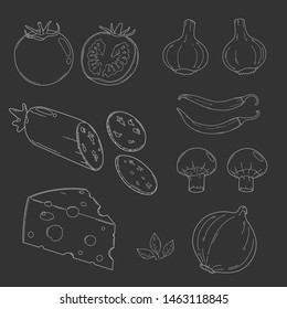 Pizza ingredients vector collection. Beautiful outline in white line and black background.