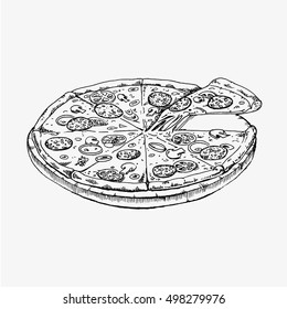 Pizza isolated on white background. Pizza food vector flat illustration. Black and white whiteboard drawing. Pizza icon, pizza illustration, pizza vector, pizza isolated, pizza menu, pizza fast food