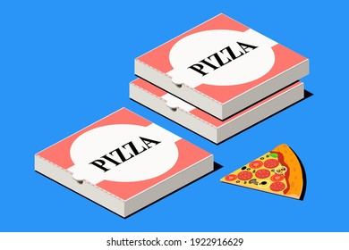Pizza. Italian fast food. Pepperoni cheese pizza and carton package box in 3D vector isometric illustration. - Shutterstock ID 1922916629