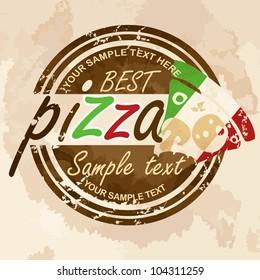 Pizza, label design. Vector illustration. Eps 10.