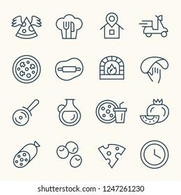 Pizza line icons
