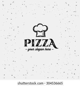 Pizza logo with cap chef. Design template.