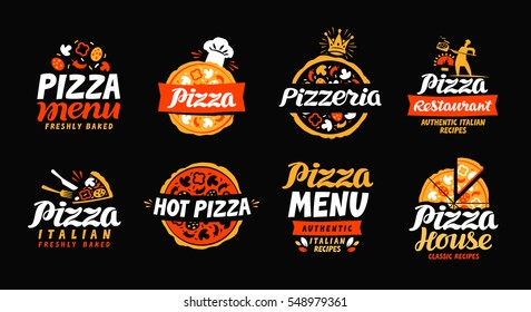 Pizza logo. Collection labels for menu design restaurant or pizzeria. Vector icons