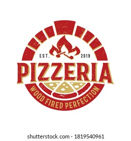 Pizza Logo, Creative Firewood Oven and Wood fired Concept Logo Design Template