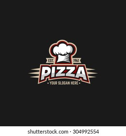 Pizza logo design template with cap chefs.
