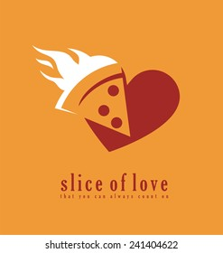 Pizza logo design template. Pizzeria symbol creative concept. Slice of love that you always count on.