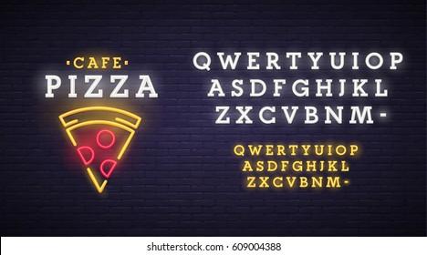 Pizza logo, emblem. Pizza neon sign, bright signboard, light banner. Neon sign creator. Neon text edit