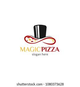 Pizza logo icon design template. Italian fast food restaurant badge, banner, vector illustration