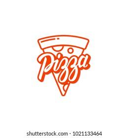 Pizza logo, label, element. Pizzeria, restaurant, food icon. Vector illustration