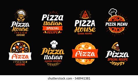 Pizza logo, label, element. Pizzeria, restaurant, food set icons. Vector illustration