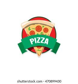 Pizza logo on white background.