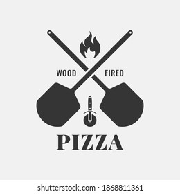 Pizza logo with oven shovel. Wood fired pizza on white background
