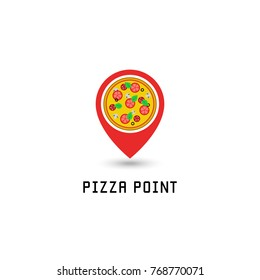 Pizza logo pointer pin location pizzeria fastfood point. Italian tasty round pizza with salami, tomato, mushrooms, cheese, basil and olives