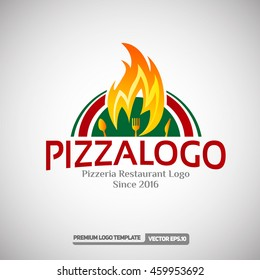 Pizza Logo Template. Can use for Pizzeria Restaurant and Food Company. Vector Eps.10