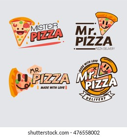 Pizza logo template concept. badges, banners for fast food restaurant.  - vector illustration