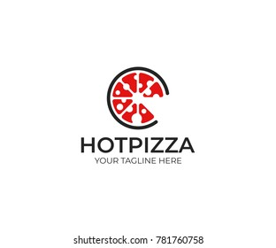 Pizza Logo Template. Fast Food Vector Design. Bakery Products Illustration