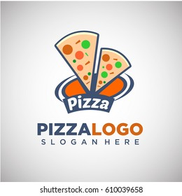 Pizza Logo template with slice of pizza Illustration. Vector Illustration
