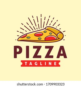 Pizza logo template, Suitable for restaurant and cafe logo