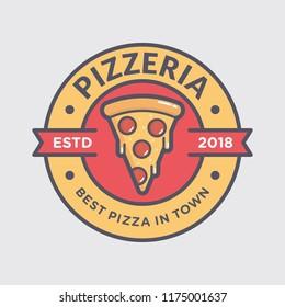 Pizza logo template vector emblem for cafe restaurant