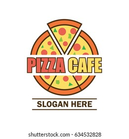 pizza logo with text space for your slogan / tag line, vector illustration