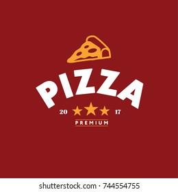 Pizza Logo Vector Graphic Design. Flat Isolated Illustration