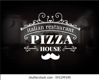 Pizza logo. Vintage pizzeria logotype. Vector Illustration