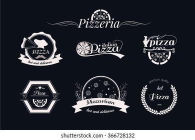 Pizza logos, badges labels or set pizzeria logotypes