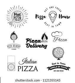 Pizza logos set. Pizzeria, Italian restaurant, Pizza box, Pizza house, Food delivery, Fast food. Wooden stand, Pizza piece in fire. Vintage style. Italian cuisine. Vector illustration.