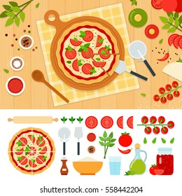 Pizza margarita and ingredients vector flat illustration. Set with oil, flour, pepper, tomato, water, oregano for website and advertising. Isolated on white background.