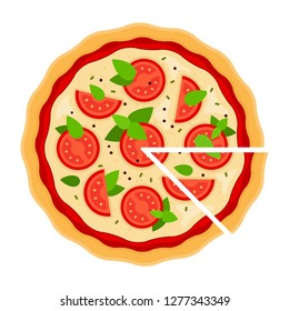 Pizza Margarita with tomatoes, Mozzarella, basil and cut triangular piece flat single icon vector isolated on white