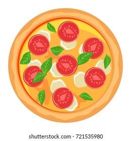 Pizza margarita with tomatoes, mozzarella, basil. Vector illustration pizza isolated on white background.