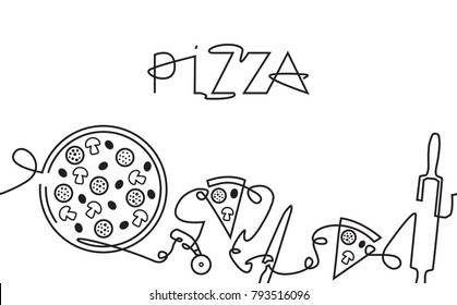 Pizza Menu Background. One Line Style. Pizza Logo. Hand Drawn Pattern. Vector Illustration.