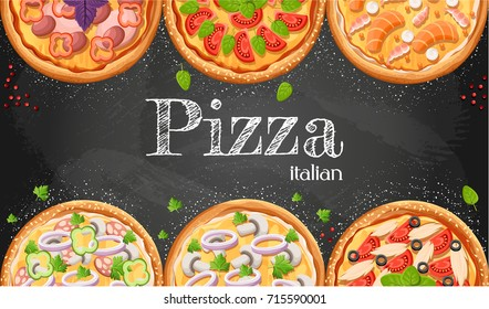 Pizza menu chalkboard cartoon background with fresh ingredients vector illustration Pizzeria flyer vector background. Two horizontal banners with ingredients text on wooden background and blackboard.
