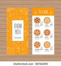 Pizza menu design. Leaflet and flyer layout template. Restaurant brochure with modern line graphic. Vector illustration.