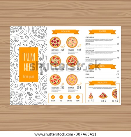 pizza menu design trifold leaflet layout stock vektorgrafik