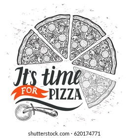 Pizza menu graphic element for restaurant and cafe. Design poster with hand-drawn elements in doodle style.