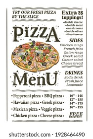 Pizza menu list template with whole pizza vector illustration