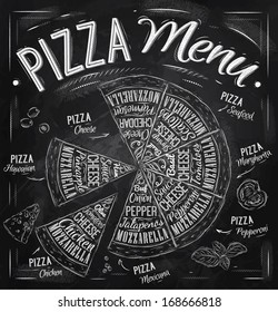 Pizza menu names of dishes, Hawaiian, cheese, chicken, pepperoni and other ingredients tomato, basil, olive to design, stylized drawing with chalk