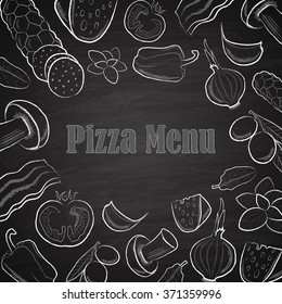 Pizza menu title with white hand drawn ingredients on chalkboard background vector illustration